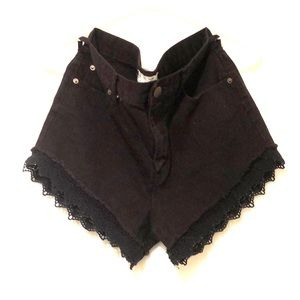 Free People black denim shorts with blck lace trim